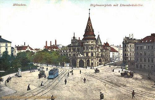 München, Stiglmaierplatz mit Löwenbräukeller