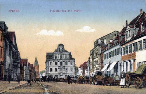 Speyer, Hauptstraße mit Markt
