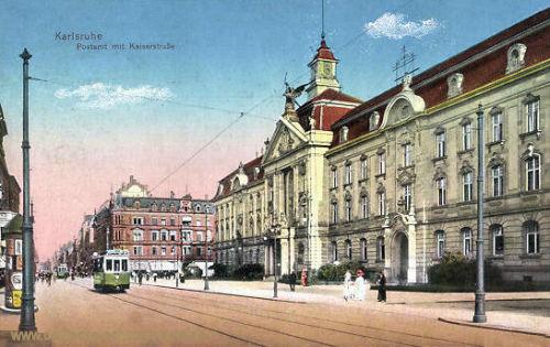 Karlsruhe, Postamt mit Kaiserstraße