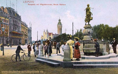 Leipzig, Rossplatz mit Mägdebrunnen