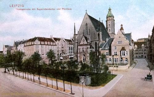 Leipzig, Thomaskirche mit Superintendentur und Pfarrhaus