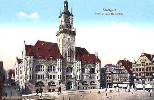 Stuttgart, Rathaus und Marktplatz