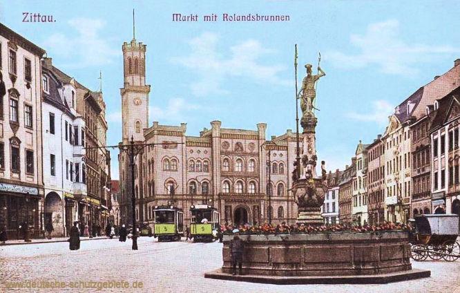 Zittau, Markt mit Rolandsbrunnen