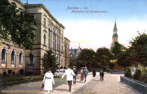 Zwickau i. S., Albertplatz mit Realgymnasium