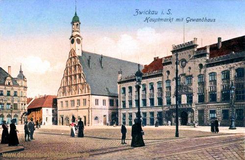 Zwickau i. S., Hauptmarkt mit Gewandhaus
