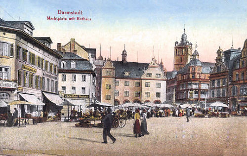 Darmstadt, Marktplatz mit Rathaus