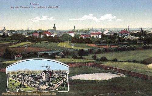 """Hanau, von der Terrasse """"zur schönen Aussicht"""""""