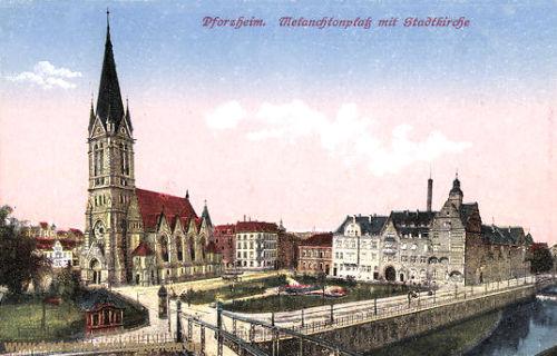 Pforzheim, Melanchtonplatz mit Stadtkirche