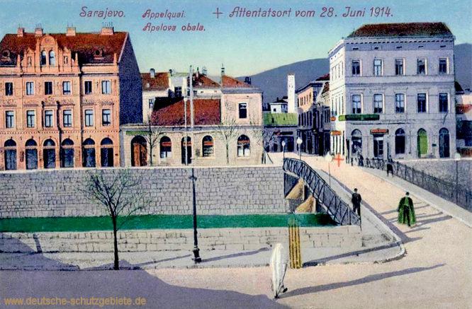 Sarajevo, Appelquai + Attentatsort vom 8 Juni 1914