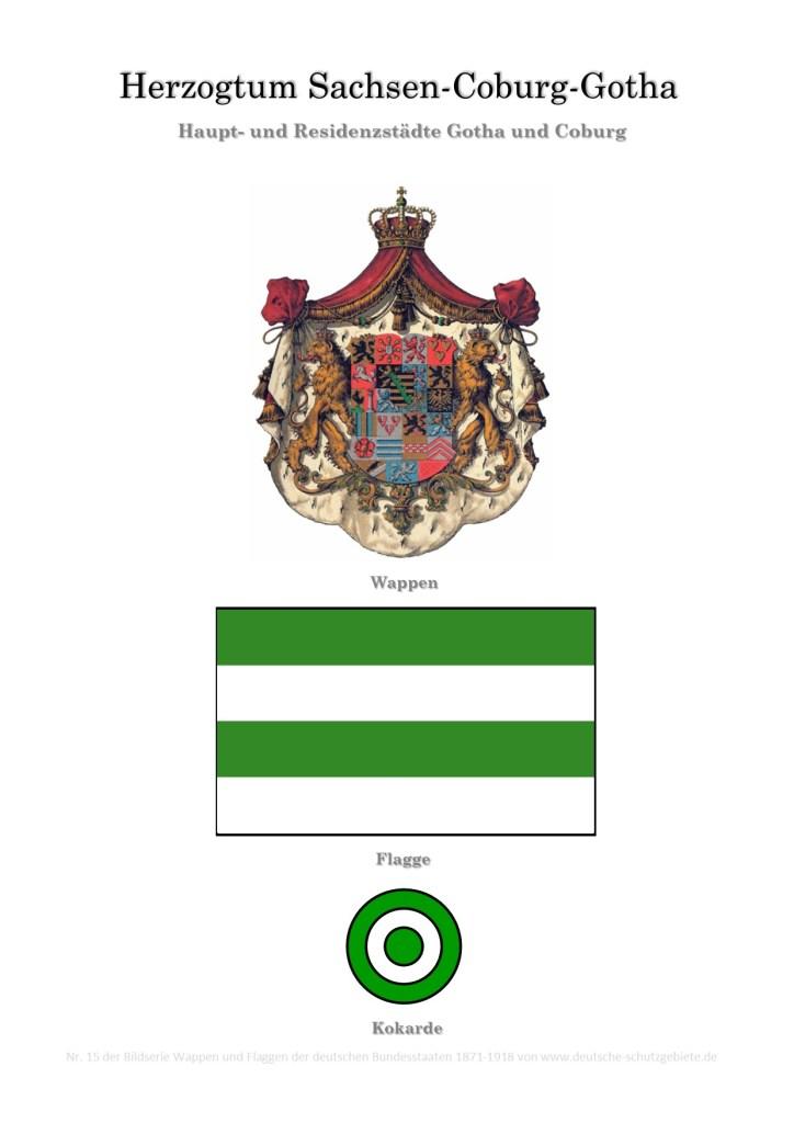 Herzogtum Sachsen-Coburg-Gotha, Wappen, Flagge und Kokarde