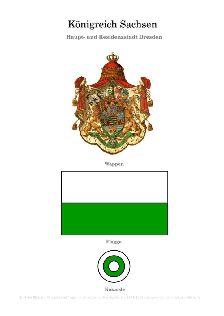 Königreich Sachsen, Wappen, Flagge und Kokarde