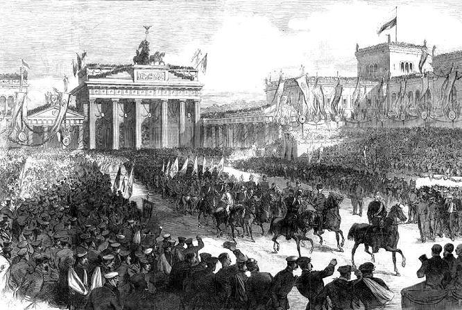 Die Siegesparade in Berlin 1866. Die preußischen Truppen beim Passieren des Brandenburger Tores.