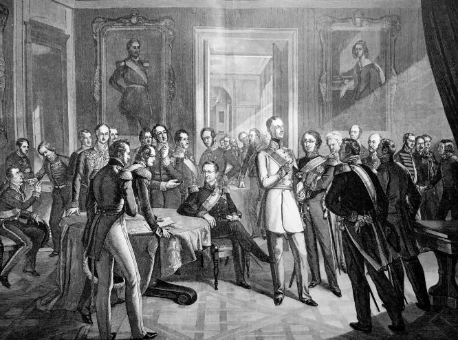 Die Mitglieder der Dresdener Konferenz bei ihrer ersten Zusammenkunft im Brühl'schen Palais am 23. Dezember 1850 nach einer Lithografie von Luis Zöllner