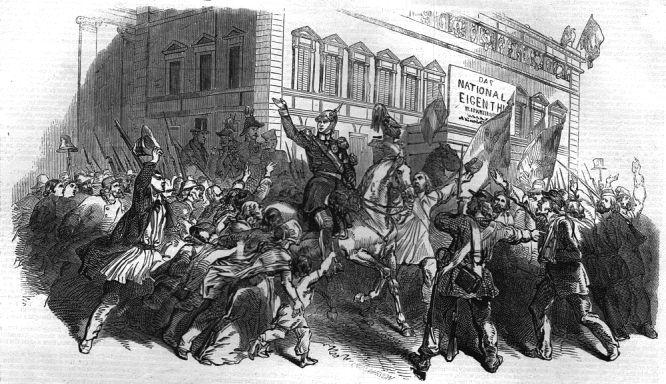 Der König von Preußen am 21. März 1848 in den Straßen Berlins.