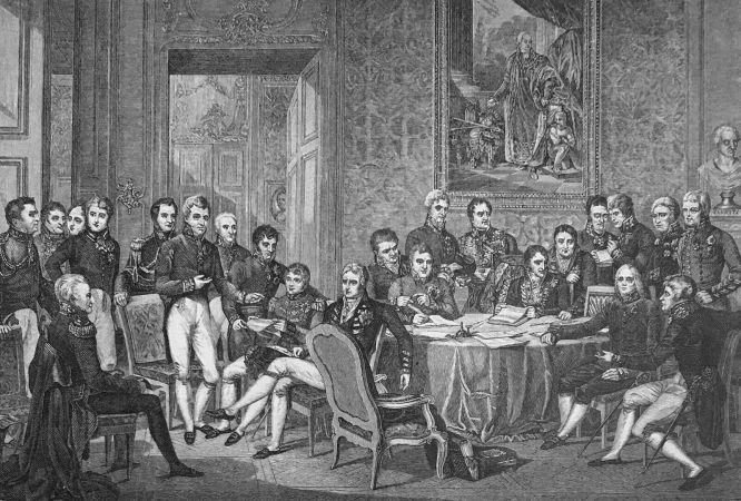 Der Kongress zu Wien: Sitzung der Bevollmächtigten der acht an dem Traktate von Paris beteiligten Mächte. Nach dem Kupferstiche von Jean Godefroh; Originalgemälde, 1819, von J. Jfabey (1767-1855).