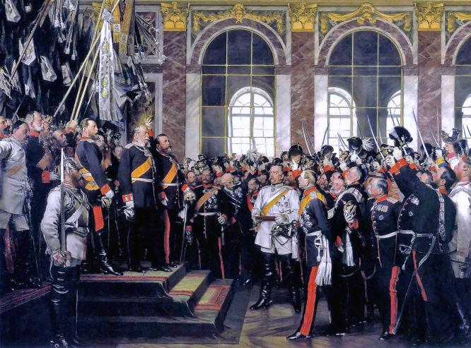Die Proklamierung des deutschen Kaiserreiches (18. Januar 1871), nach einem Gemälde (1885) des Malers Anton von Werner