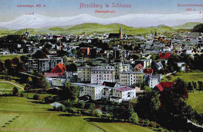 Hirschberg in Schlesien (Riesengebirge), Schneekoppe 1605 m, Schneegrubenbaude 1493 m.