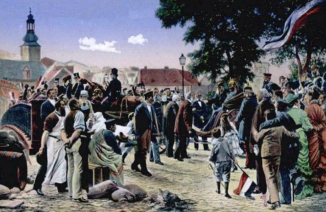 Ankunft König Wilhelm I. in Saarbrücken 1870, nach einem Gemälde (1880) des Malers Anton von Werner