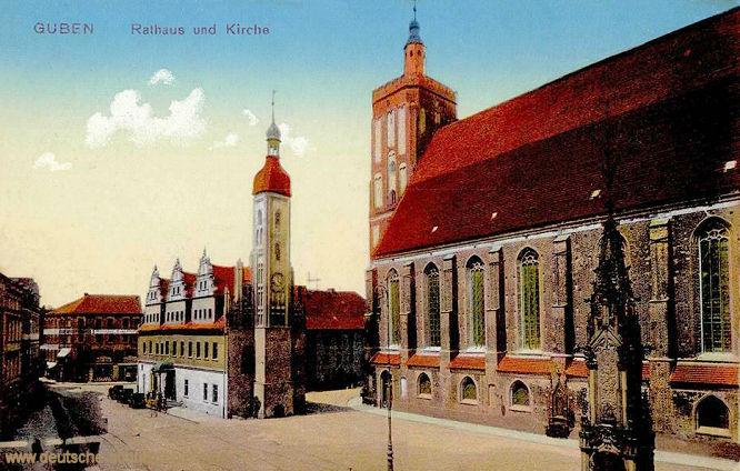 Guben, Rathaus und Kirche