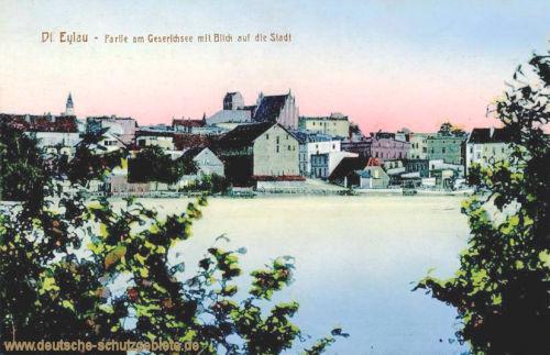 Deutsch-Eylau Partie am Geserichsee mit Blick auf die Stadt