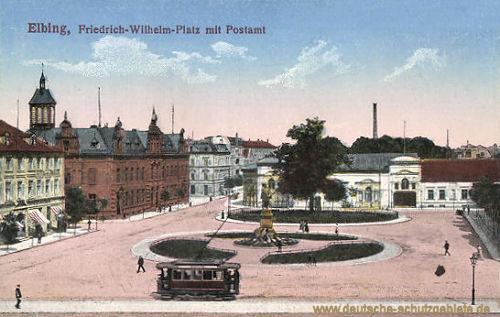 Elbing, Friedrich-Wilhelm-Platz mit Postamt