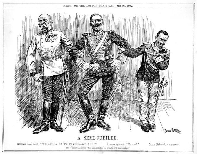 """Dreibund Österreich-Ungarn, Deutschland, Italien. - Der """"Punch"""" macht sich über das Abfallen Italiens vom Dreibund lustig. 29. Mai 1907"""