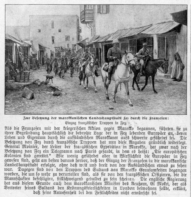 Marokkokrise: Zur Besetzung der marokkanischen Landeshauptstadt Fez durch die Franzosen.
