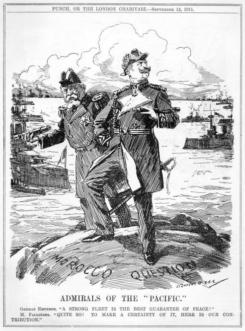 """Marokkofrage: Admirals of the """"Pacific"""", der französische Staatspräsident 1906-1913 Armand Fallières und Kaiser Wilhelm II. meinen mit ihrer jeweiligen Flotte ein Beitrag zum Frieden zu leisten, """"Punch"""" vom 13. September 1911"""
