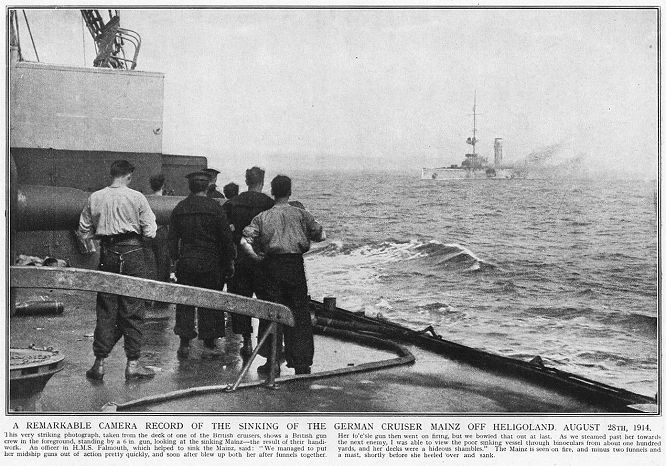 A remarkable camera record of the sinking of the German cruiser mainz off Heligoland. August 28th, 1914