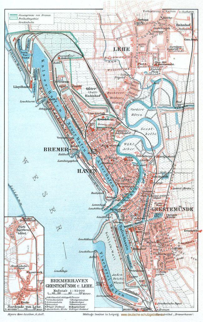 Bremerhaven, Geestemünde und Lehe Stadtplan 1900 (Meyers Konversations-Lexikon 6. Auflage)
