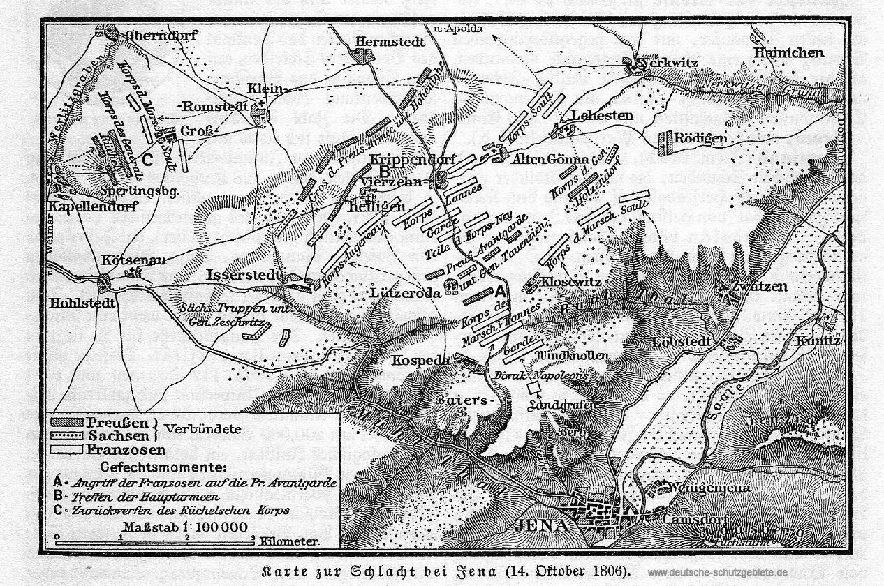 Karte zur Schlacht bei Jena (14. Oktober 1806)