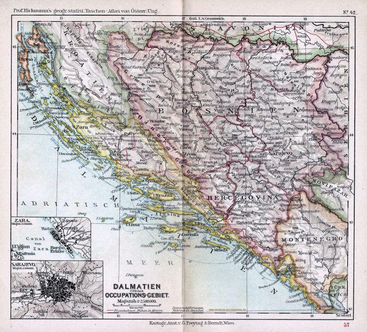 Dalmatien und das Okkupationsgebiet Bosnien und Herzegowina Karte 1900 (Prof. Hickmann's geographisch-statistischer Taschenatlas von Österreich-Ungarn)