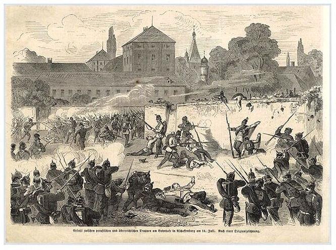 Gefecht zwischen preußischen und österreichischen Truppen am Bahnhof in Aschaffenburg am 14. Juli 1866. Nach einer Originalzeichnung.