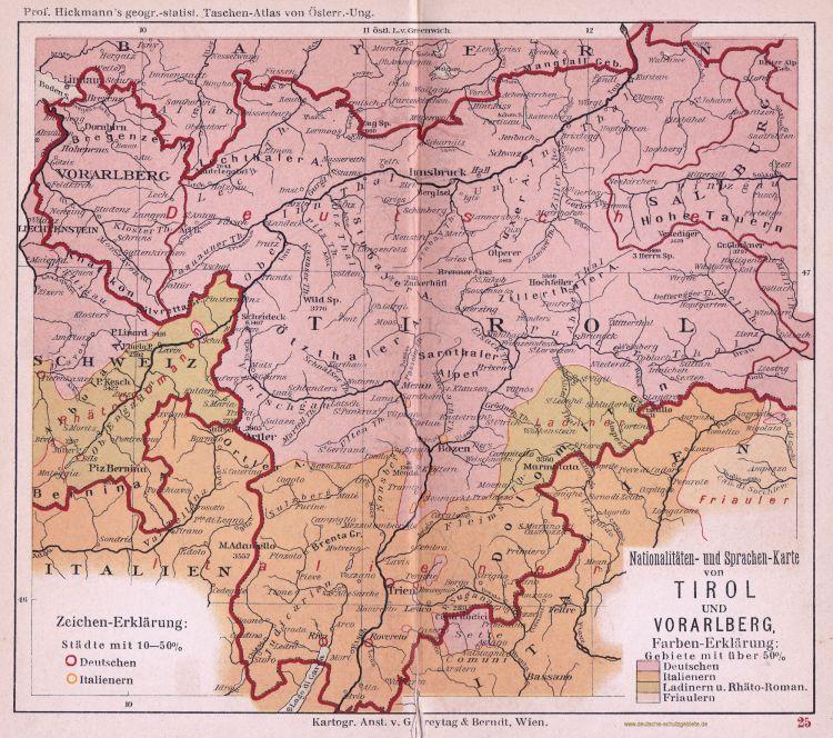 Tirol und Vorarlberg, Nationalitäten- und Sprachen-Karte 1900 (Prof. Hickmann's geographisch-statistischer Taschenatlas von Österreich-Ungarn)