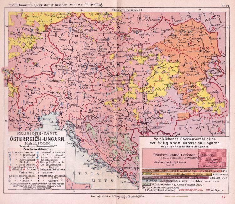 Religions-Karte von Österreich-Ungarn 1895 (Prof. Hickmann's geographisch-statistischer Taschenatlas von Österreich-Ungarn)