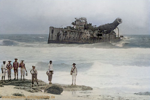 S.M.S. Emden bombed on the beach Cocos Islands 1914