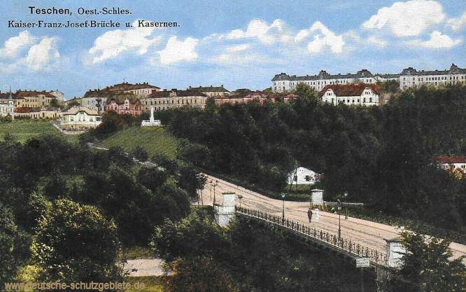 Teschen, Kaiser-Franz-Josef-Brücke und Kasernen.