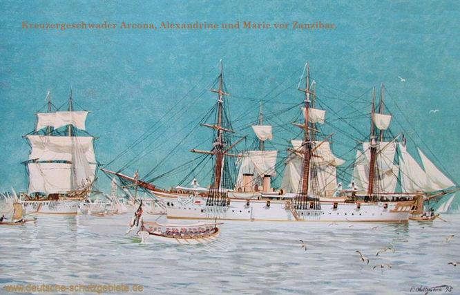Kreuzergeschwader Arcona, Alexandrine und Marie vor Zanzibar.