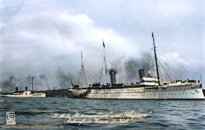 S.M.S. Hohenzollern und S.M.S. Sleipner. Ankunft des Kaisers in Kiel