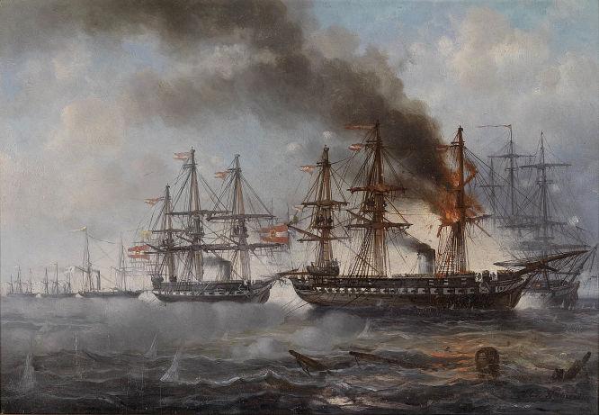 """""""Das Seegefecht bei Helgoland 1864 (die brennende österreichische Fregatte Schwarzenberg, dahinter die Fregatte Radetzky)"""" Gemälde von Josef Püttner (1821-1881)"""