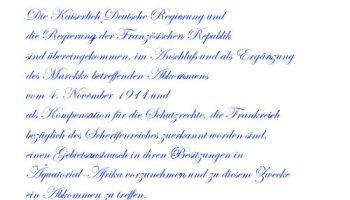 Deutsch-Französisches Abkommen über Äquatorial-Afrika vom 4. November 1911