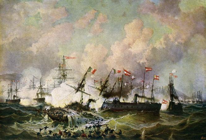 """""""Die Seeschlacht bei Lissa"""" Gemälde von Josef Püttner (1821-1881)"""
