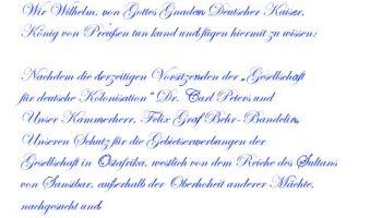 Erster Schutzbrief für Deutsch-Ostafrika vom 27. Februar 1885