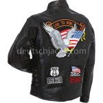 Diamond Plate Unisex Buffalo Leather Motorcycle Jacket.