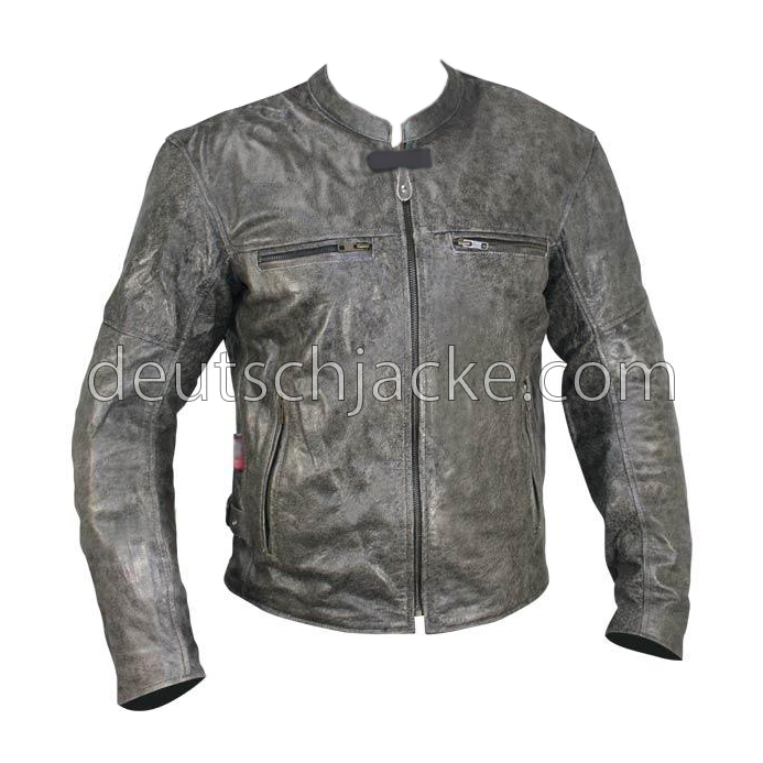 Grey Distressed Motorcycle Leather Jacket for Womens