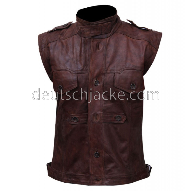Mens Chocolate Brown Distressed Biker Leather VestFront