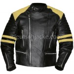 Men's Vintage Black Leather Motorcycle Jacket with Yellow Stripes
