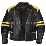 Men's Vintage Black Leather Motorcycle Jacket with Yellow Stripes1