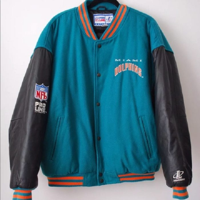 Miami Dolphin NFL Proline Blue Cotton Jacket With Leather