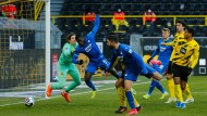 2:1 für Hoffenheim, Vorlage Torhüter Hitz: Ihlas Bebou weiß selbst kaum, wie ihm in dieser Szene geschieht.